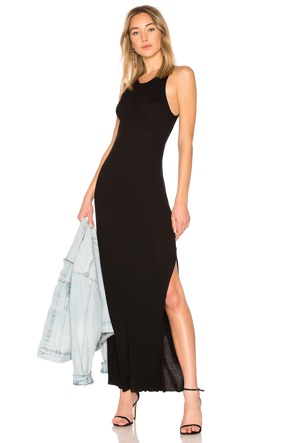 Cotton Citizen COTTON CITIZEN MELBOURNE TANK MIDI DRESS WITH SLIT IN BLACK.