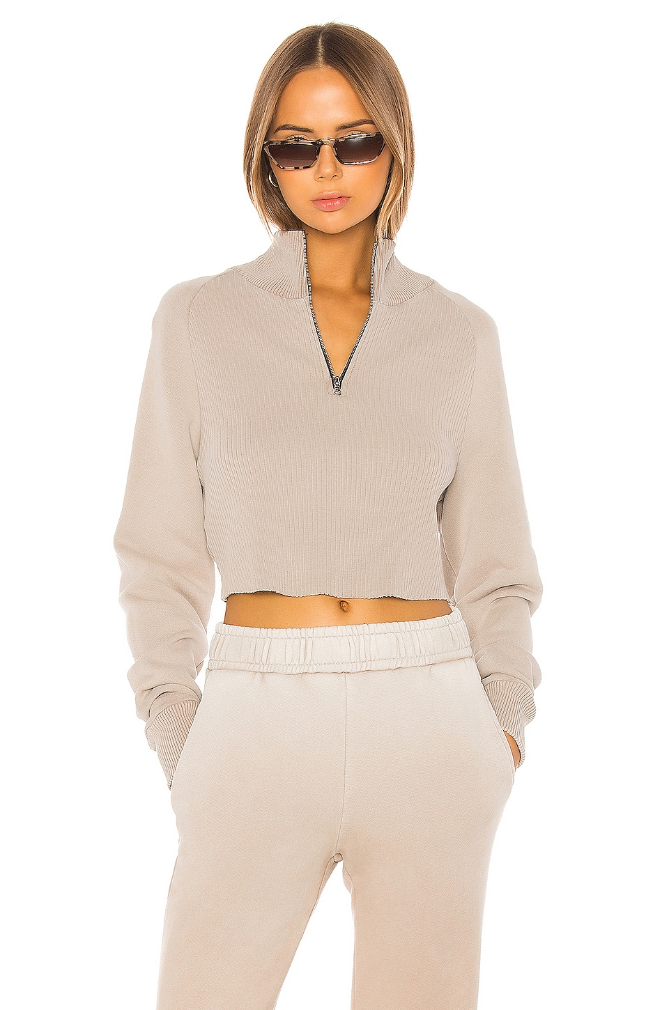 COTTON CITIZEN Beijing Crop Sweater in Sand Dollar