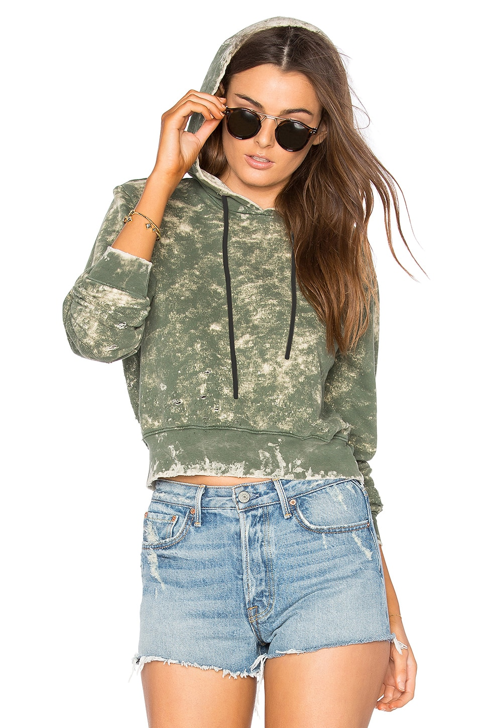 COTTON CITIZEN The Milan Cropped Pullover Hoodie in Sage Dust