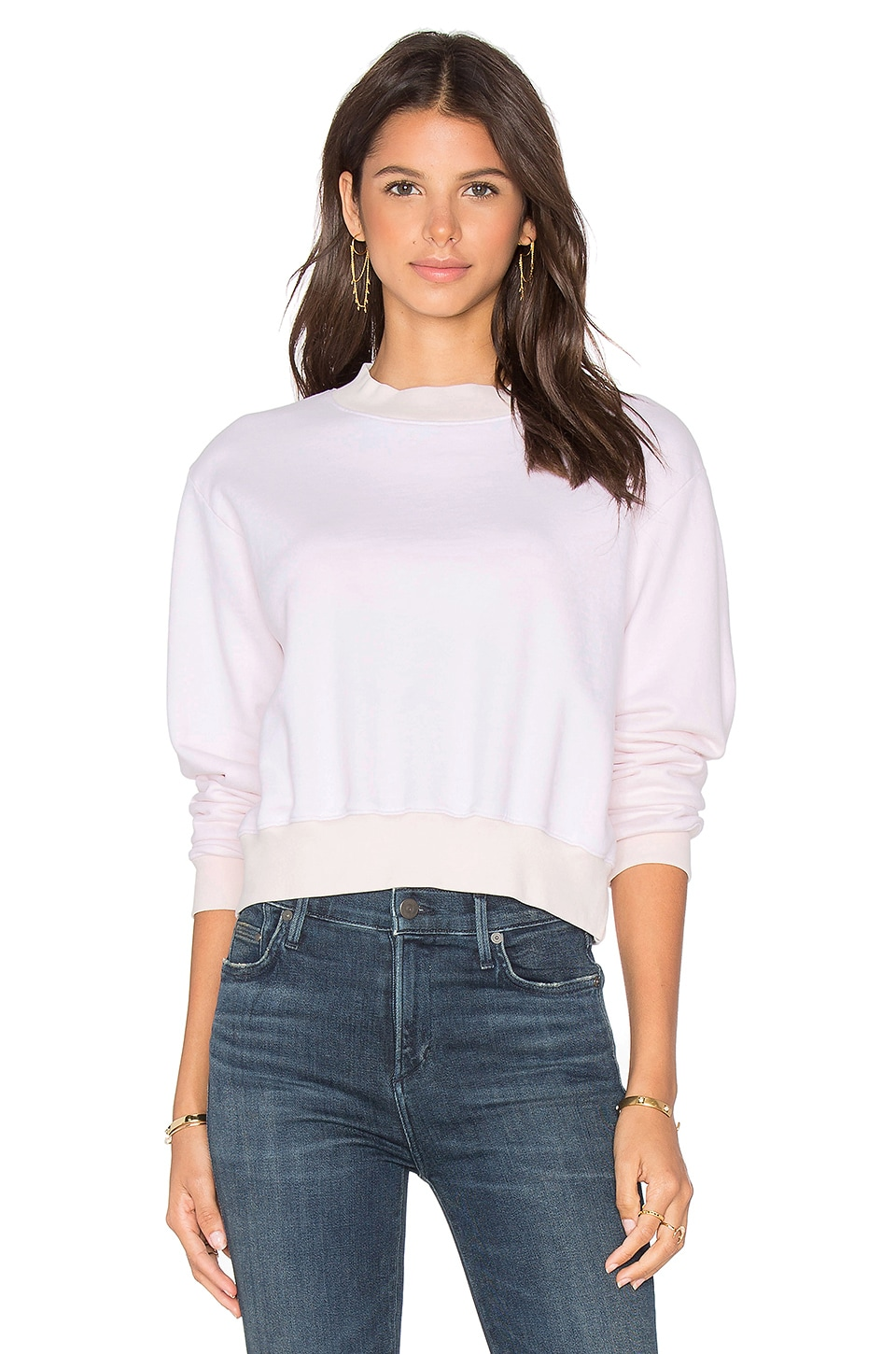 COTTON CITIZEN Milan Cropped Sweatshirt in Rose
