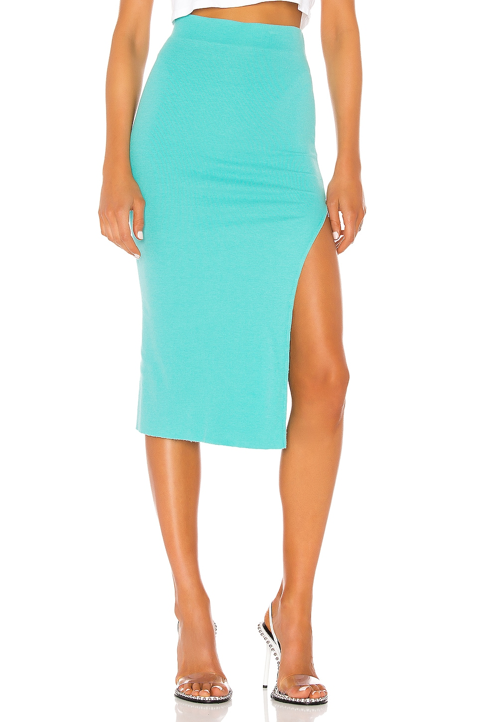 COTTON CITIZEN Melbourne Midi Skirt With Slit in Caribbean