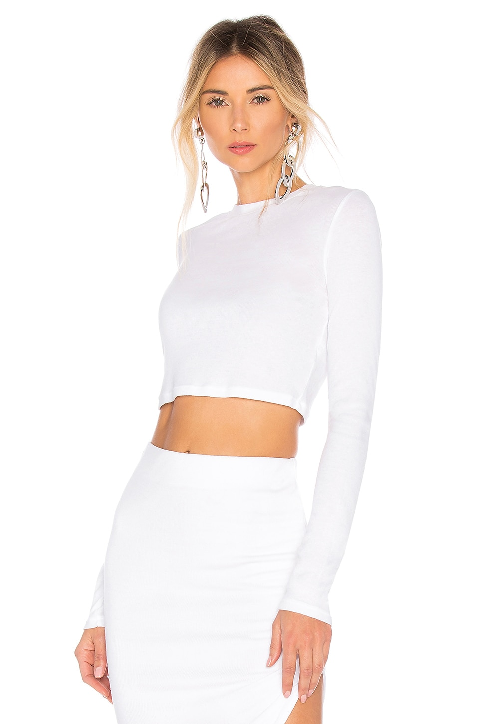 Cotton Citizen COTTON CITIZEN VERONA CROP LONG SLEEVE IN WHITE.