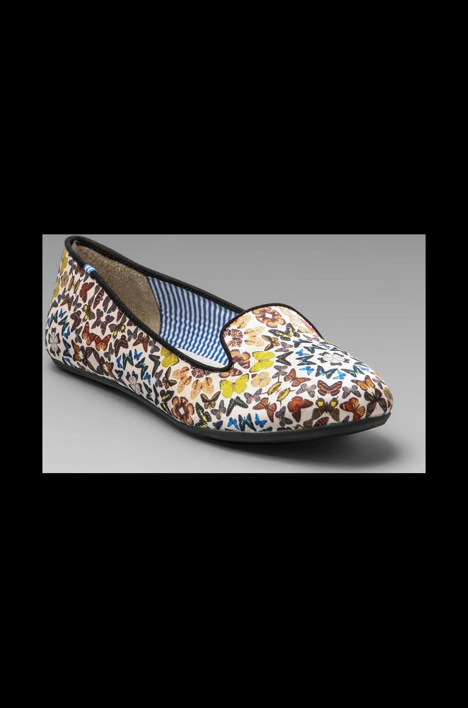 Charles Philip Shanghai Yasmine Butterfly Kaleidoscopes Flat in White/Multi