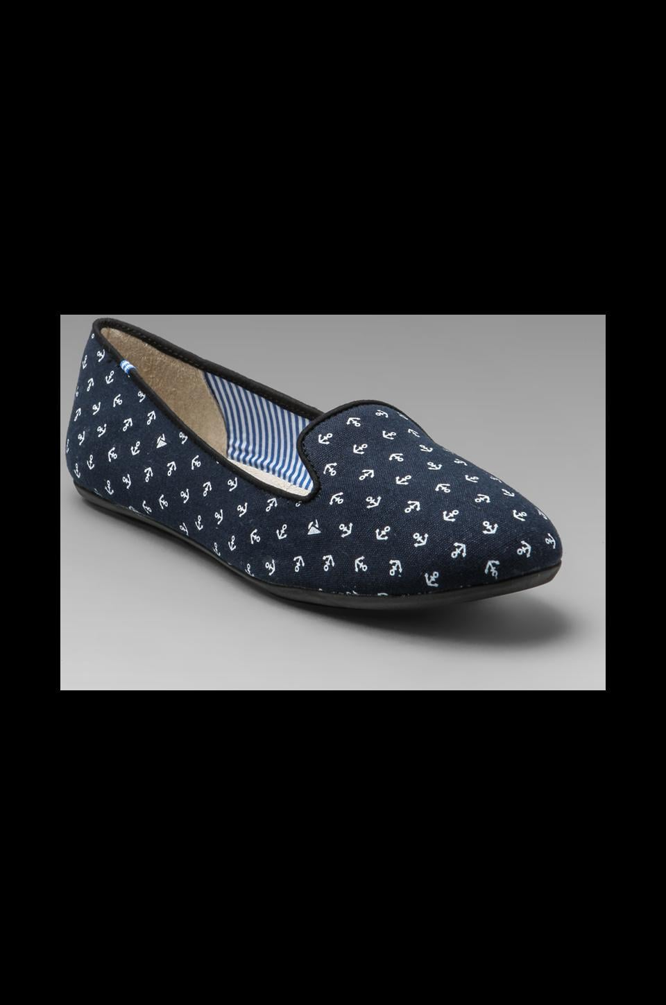 Charles Philip Shanghai Tropez Flat in Navy Anchors