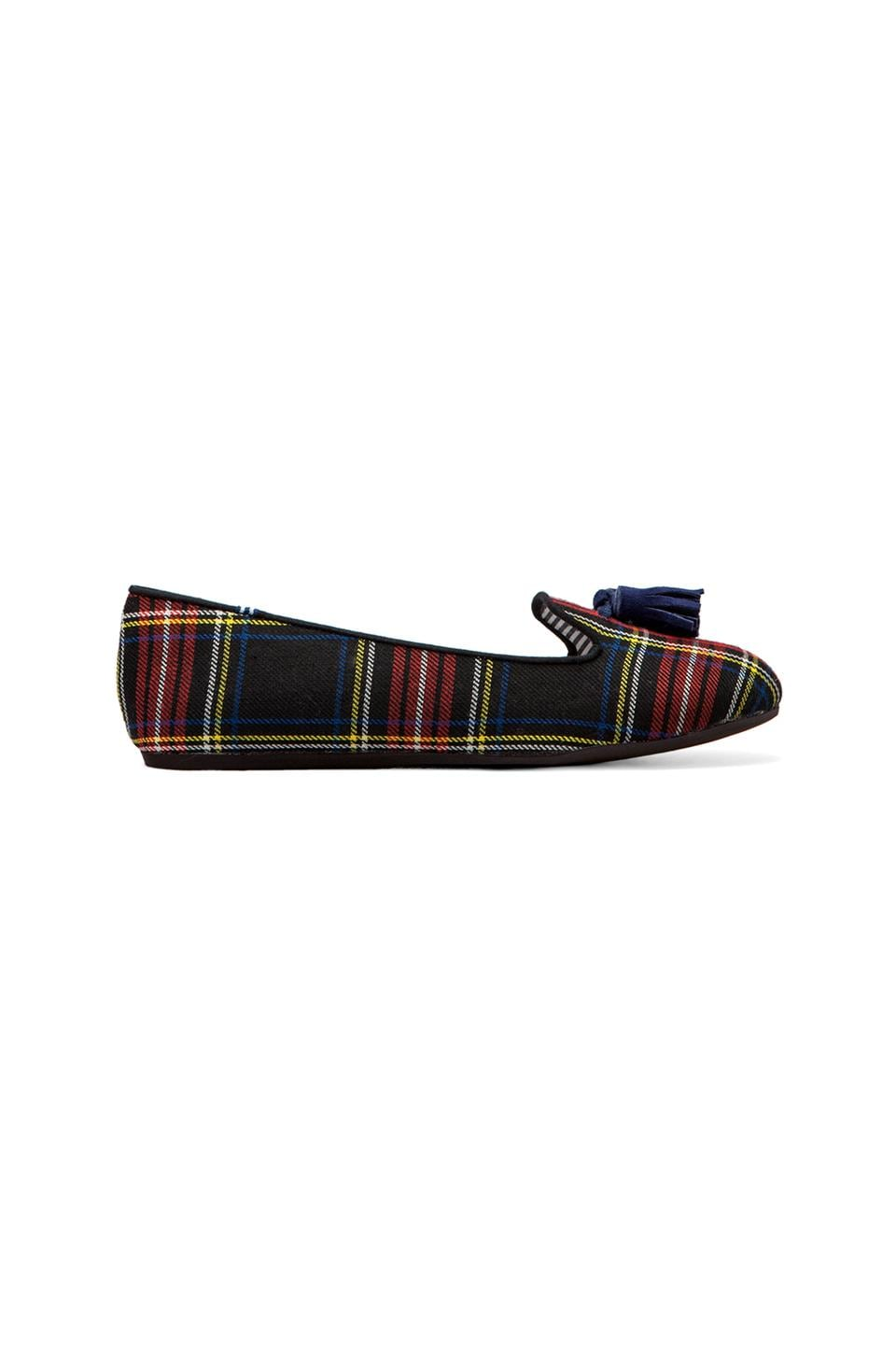 Charles Philip Shanghai Lana Wool Plaid Flat with Tassel in Scottish Red/ Navy