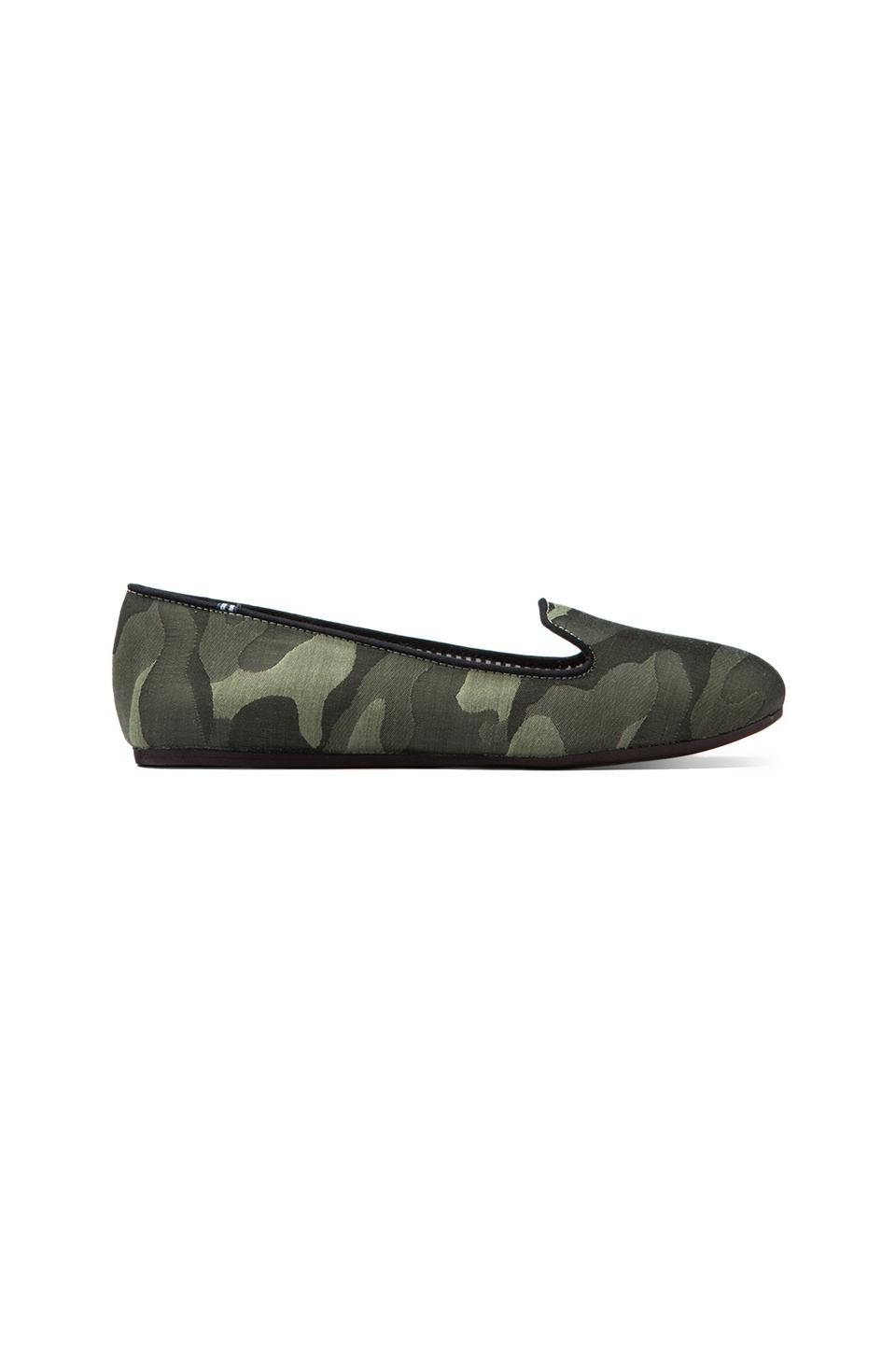 Charles Philip Shanghai Sheila Silk Camo Flat in Military Green