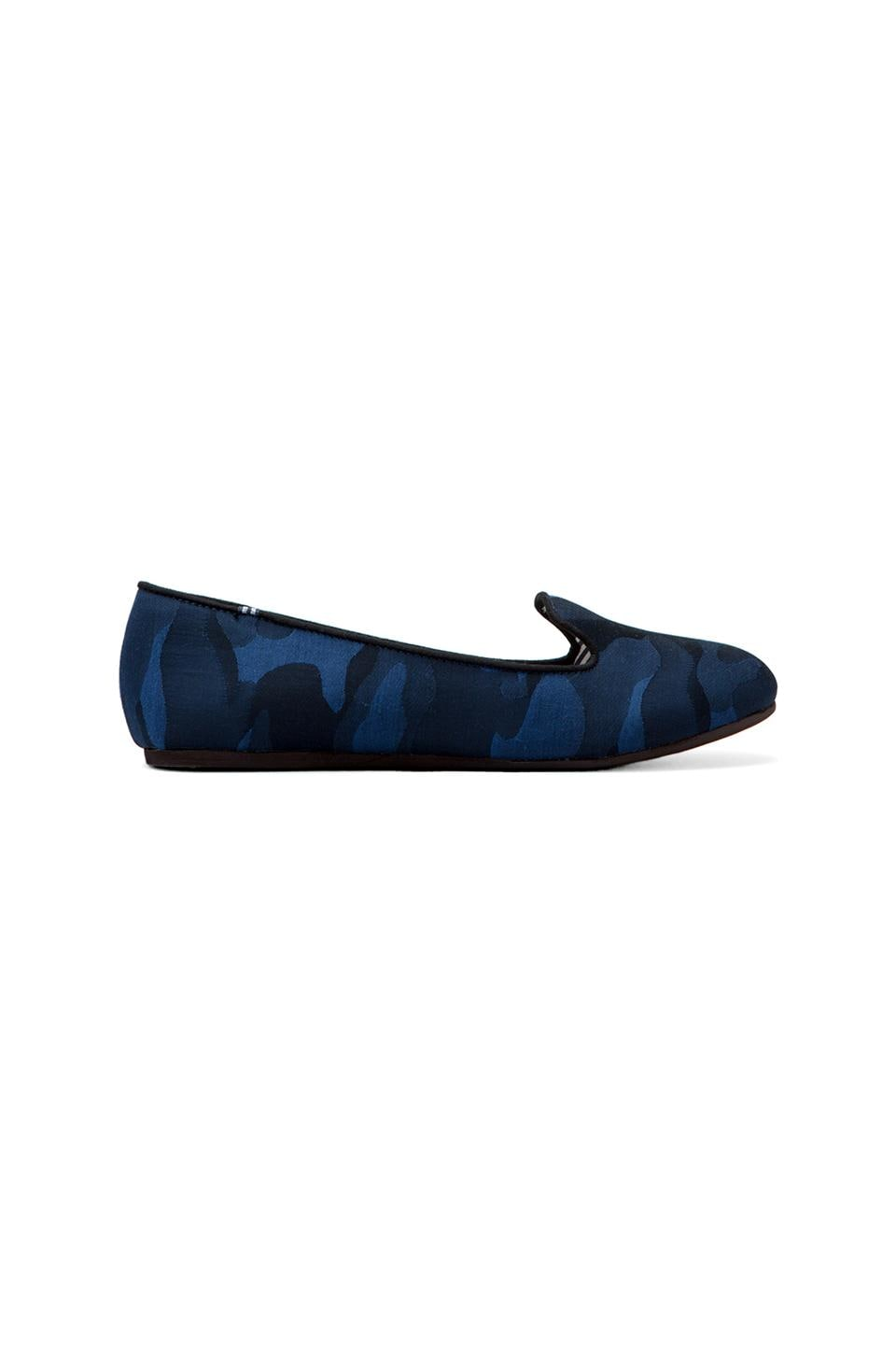 Charles Philip Shanghai Sheila Silk Camo Flat in Military Blue