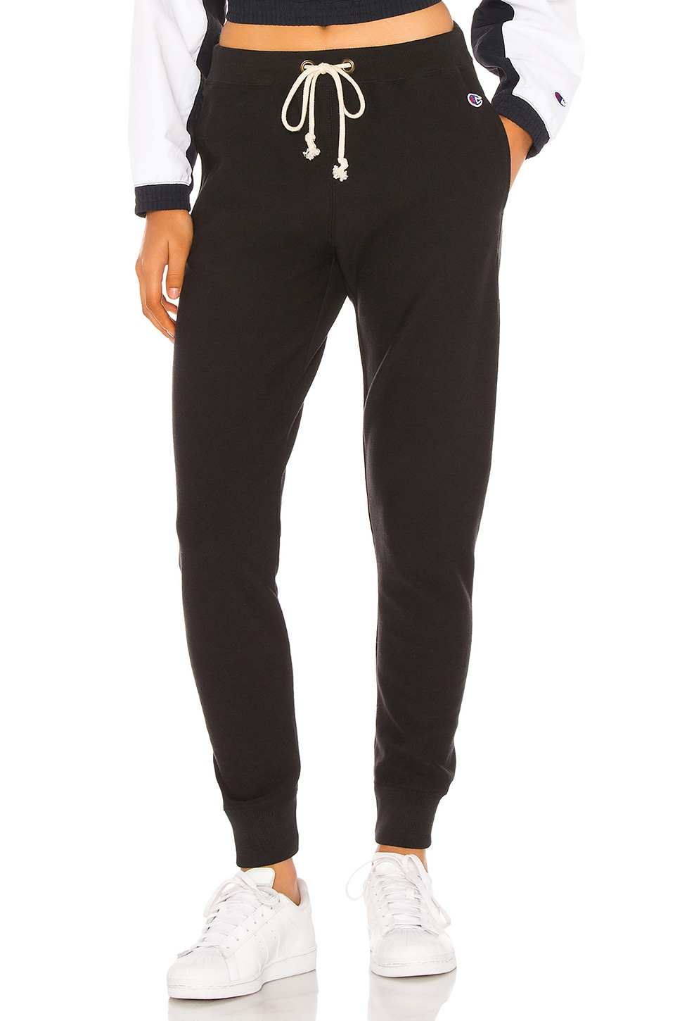 Champion Rib Cuff Pants in Black