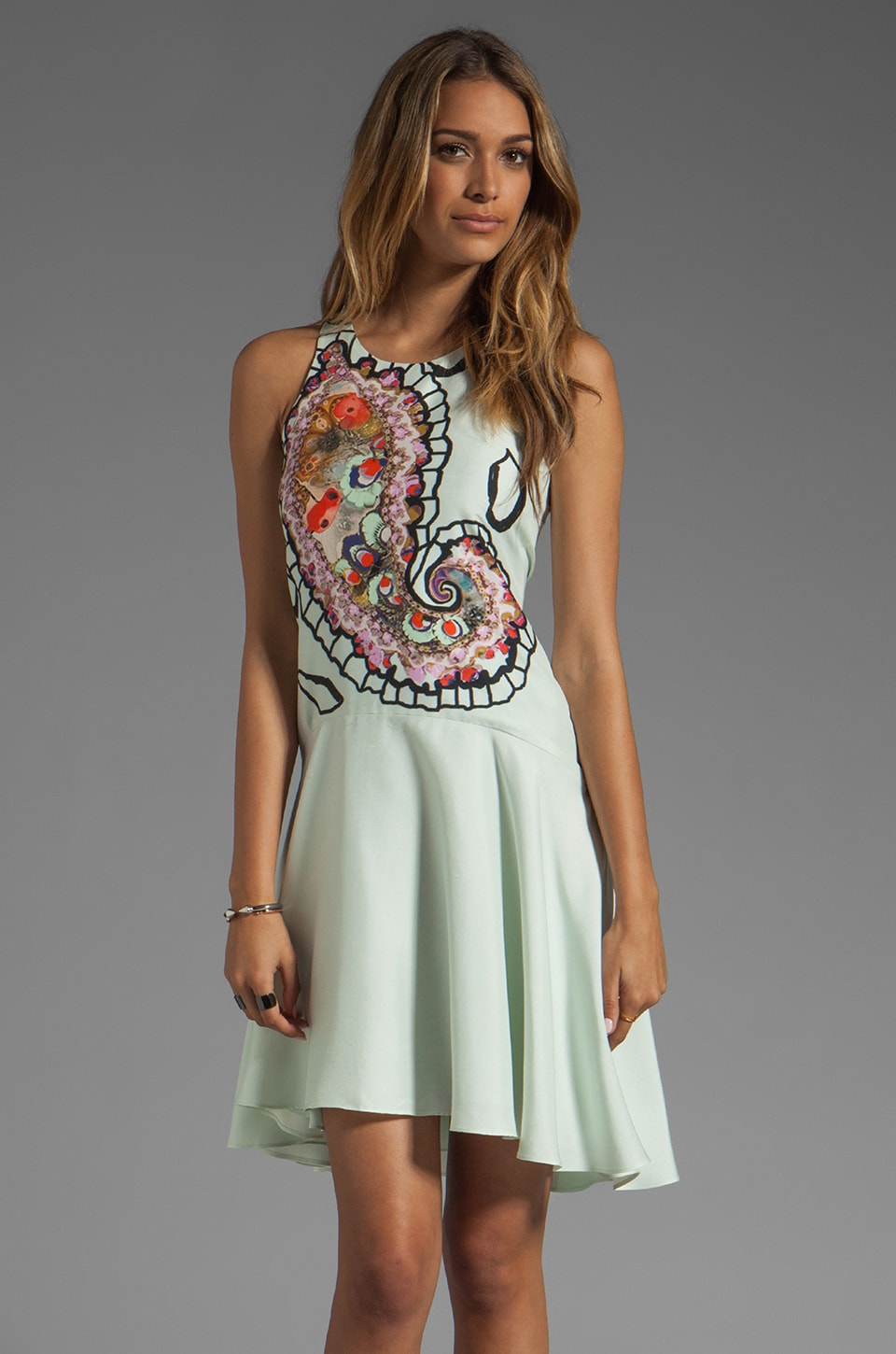 Cynthia Rowley Magnified Paisley Halter Dress in Mint