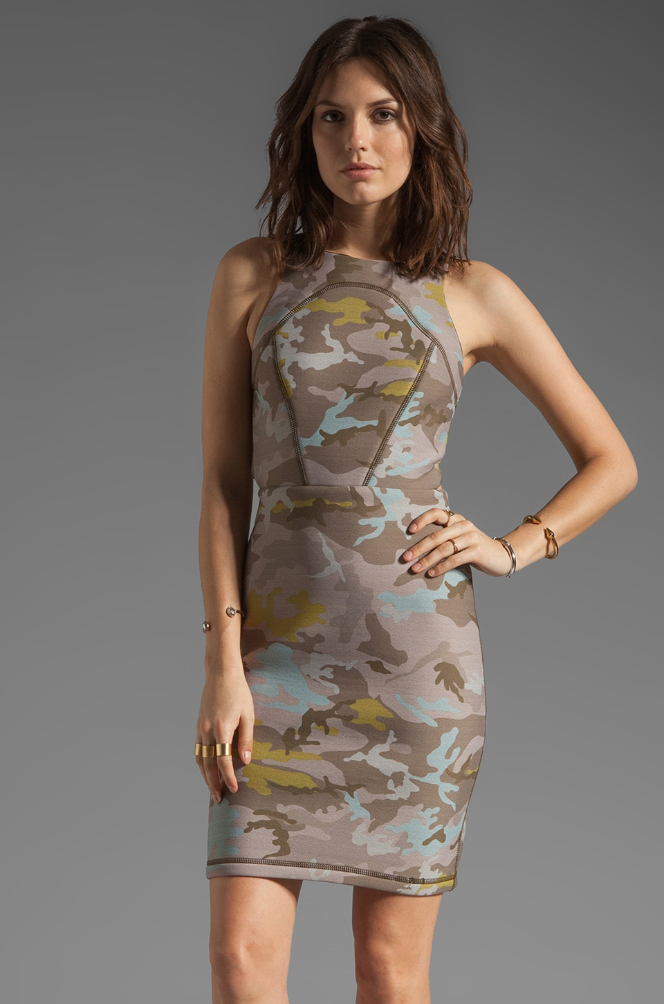 Cynthia Rowley Bonded Open Back Dress in Camo
