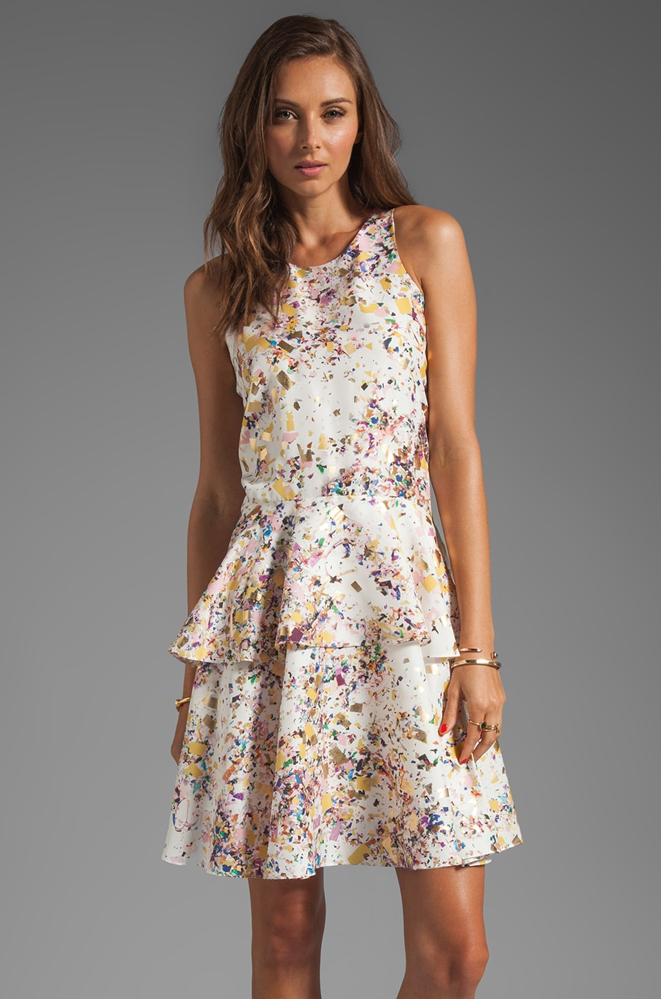 Cynthia Rowley Floral Overlay Dress in White