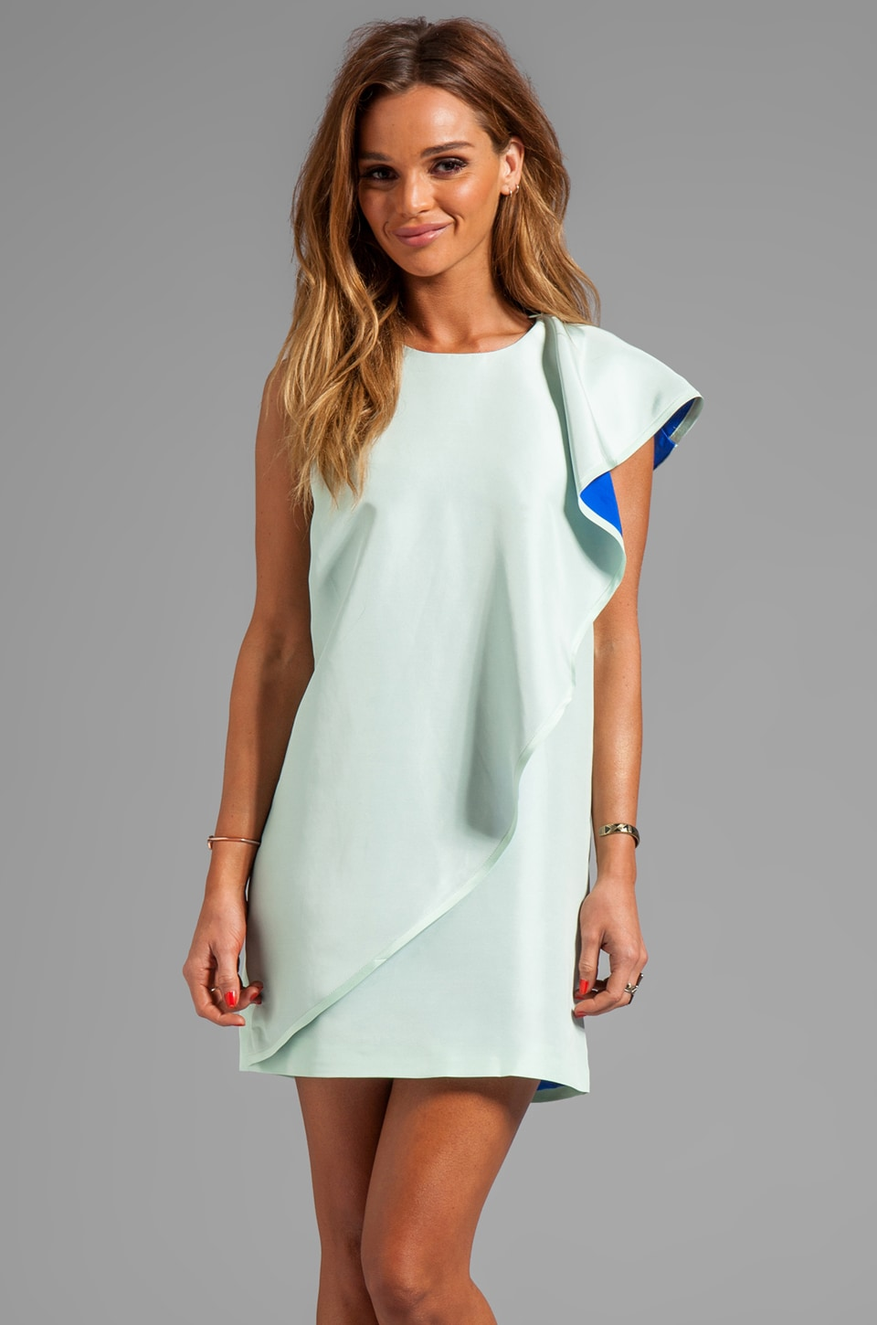 Cynthia Rowley Frosted Silk Dupioni Dress in Mint/Blue