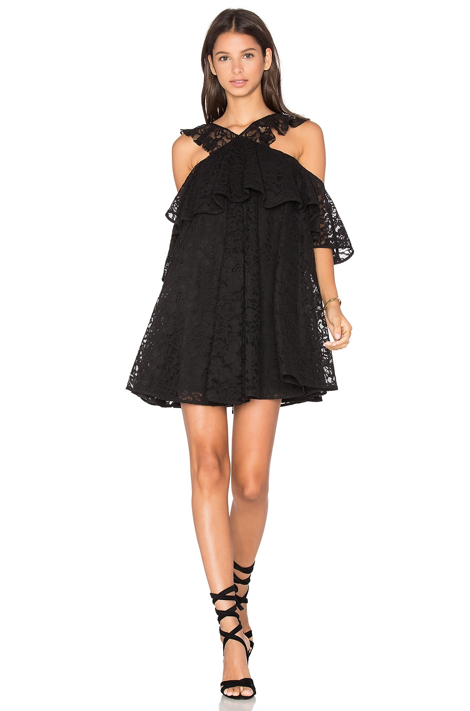 Cynthia Rowley Lace Cold Shoulder Mini Dress in Black