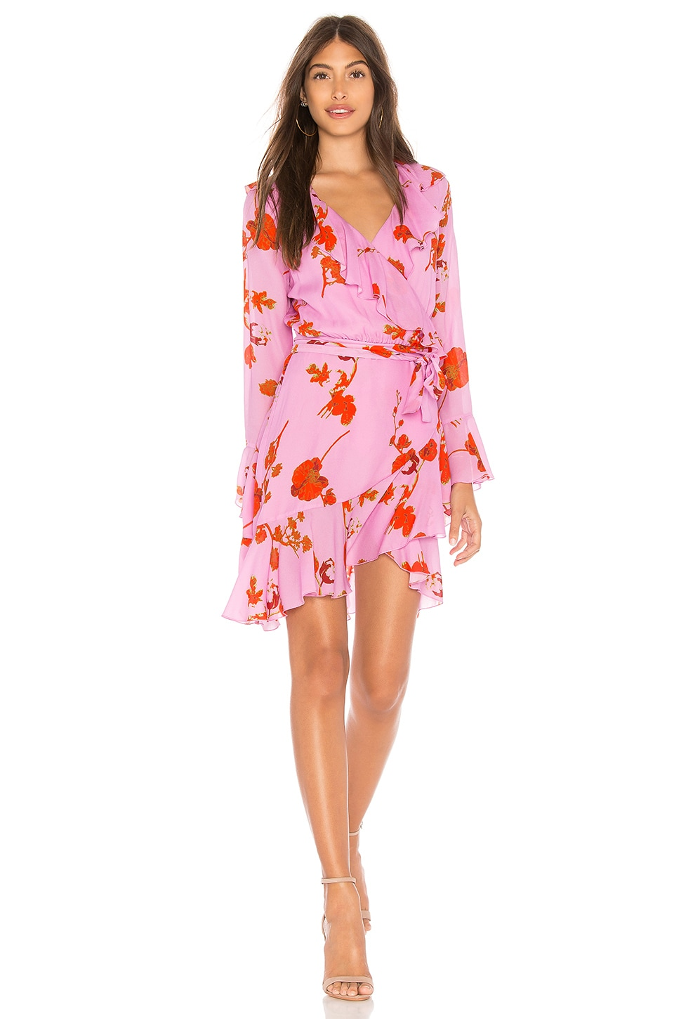 Cynthia Rowley Malibu Ruffle Mini Dress in Pink Poppy