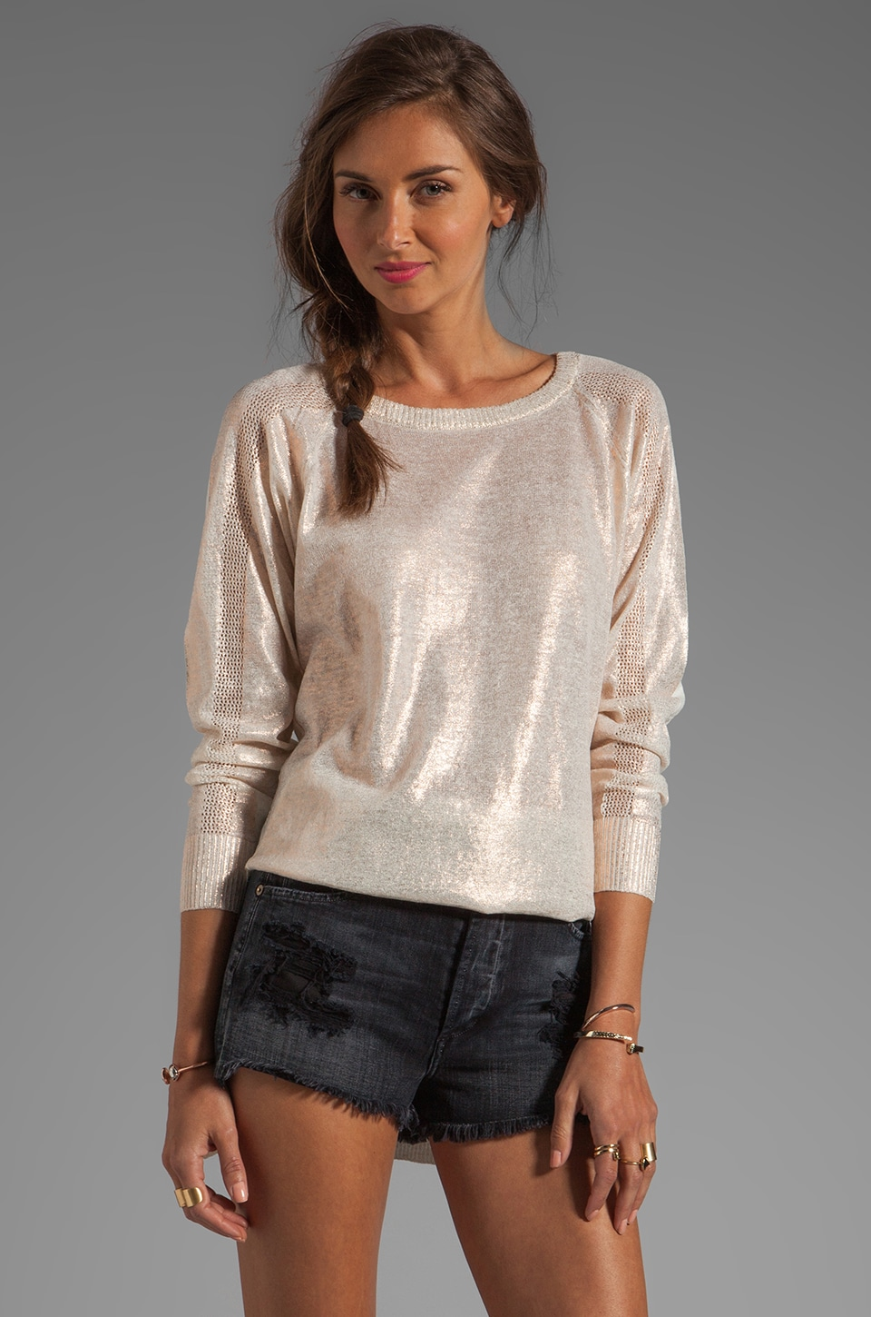 Cynthia Rowley L/S Crewneck Sweater in Gold
