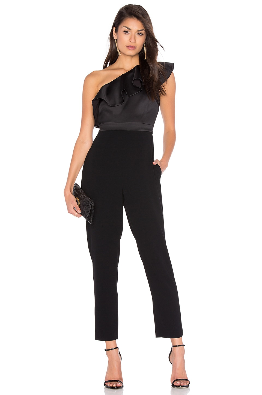 Cynthia Rowley Satin Ruffle Jumpsuit in Black