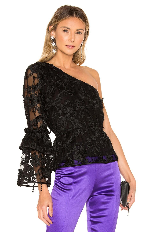 Cynthia Rowley Ruffle Sleeve Lace Top in Black