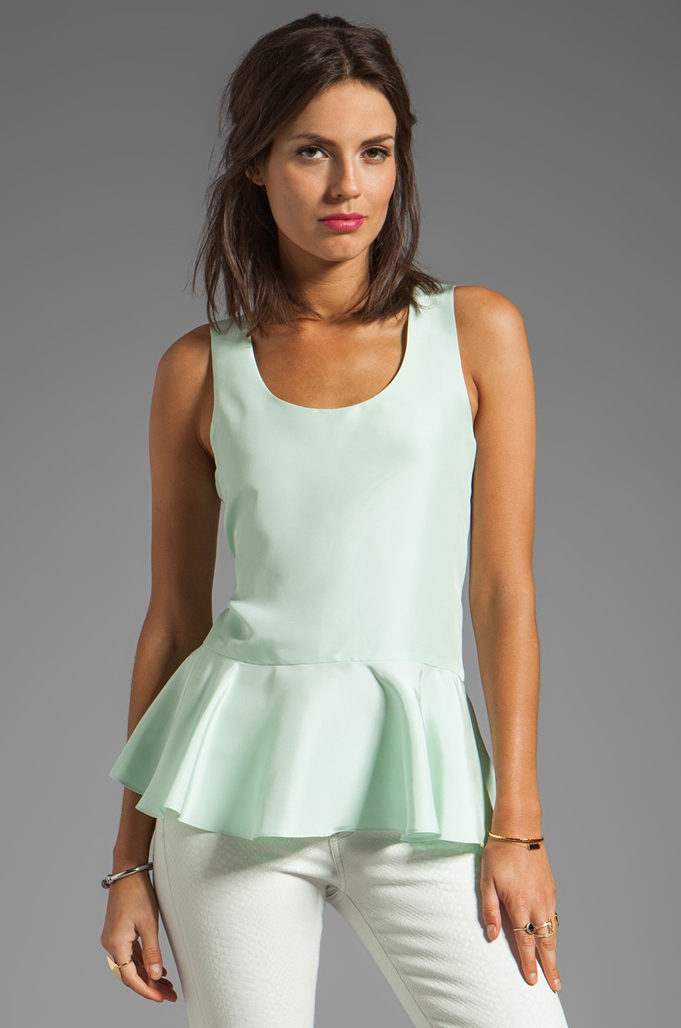 Cynthia Rowley Frosted Silk Dupioni Ruffle Top in Mint
