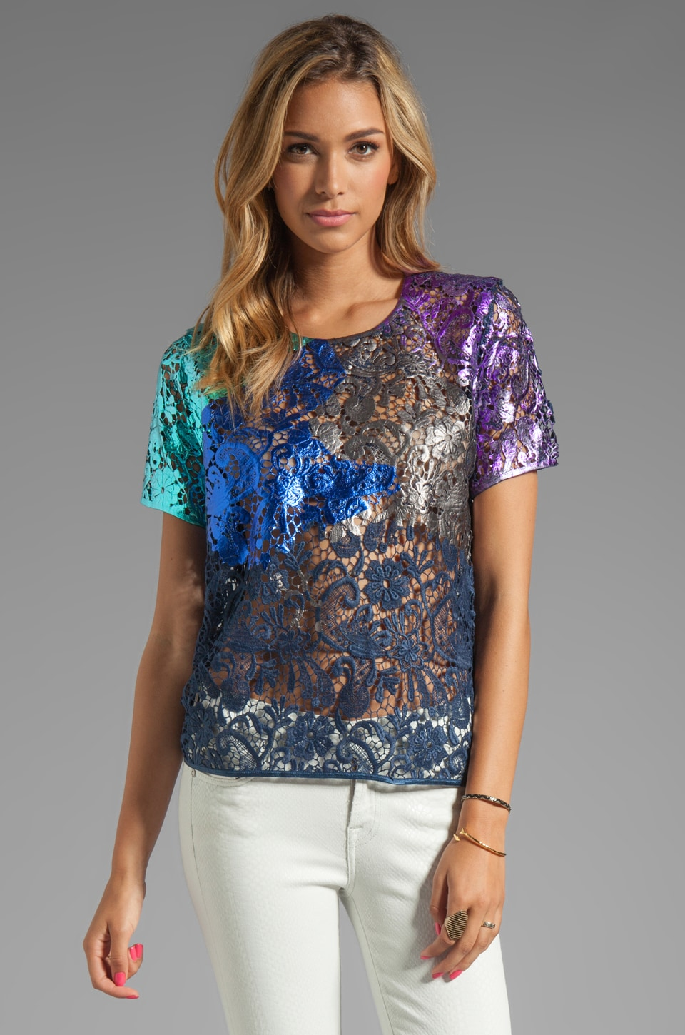Cynthia Rowley Foiled Lace T-Shirt Top in Navy