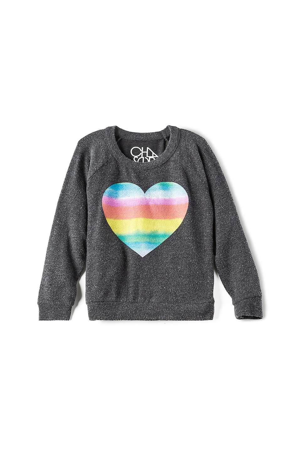 Chaser Rainbow Heart Tee in Black