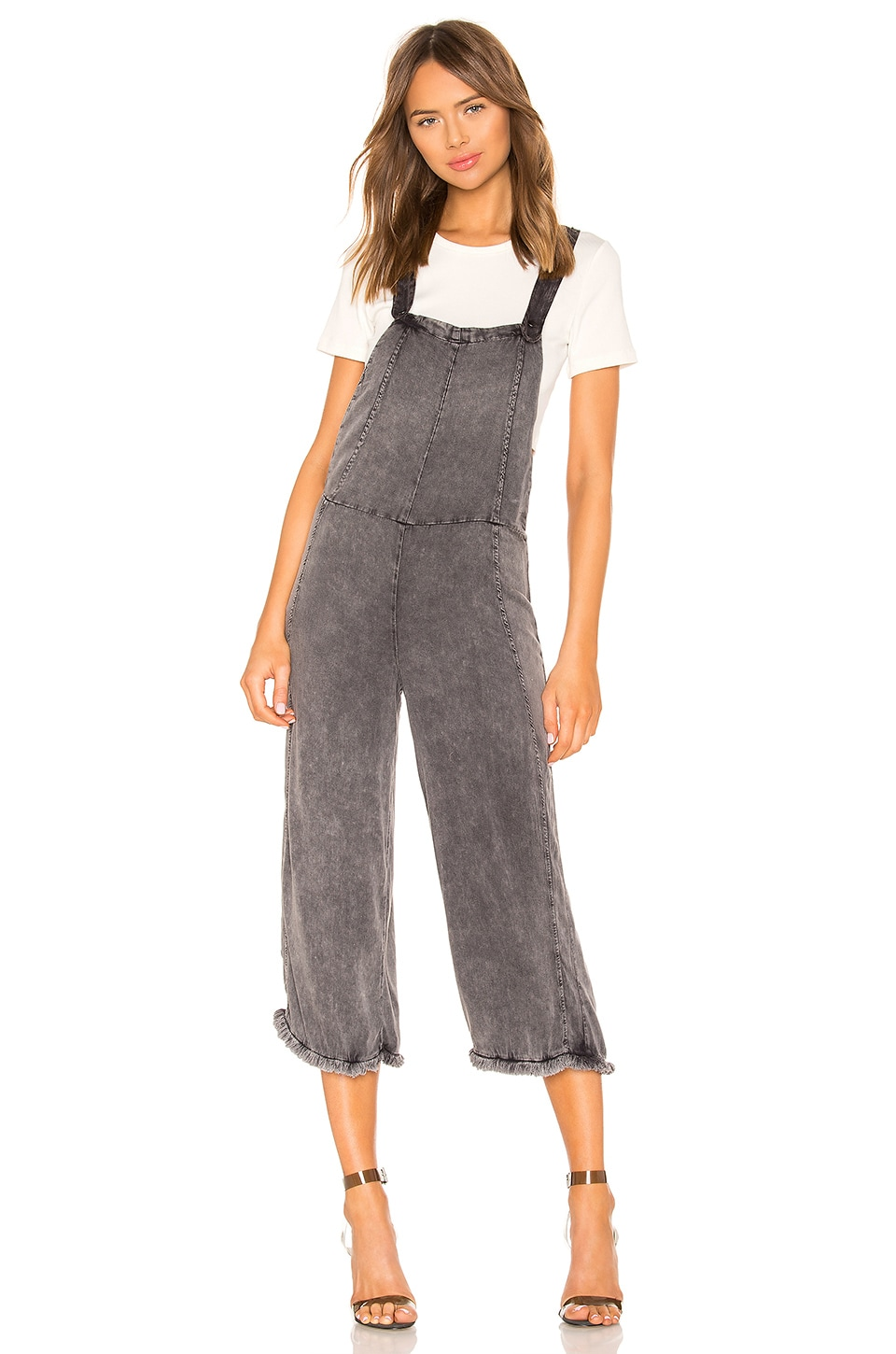 Chaser Cross Back Cropped Culotte Overalls with Frayed Edge in Black Cloud Wash