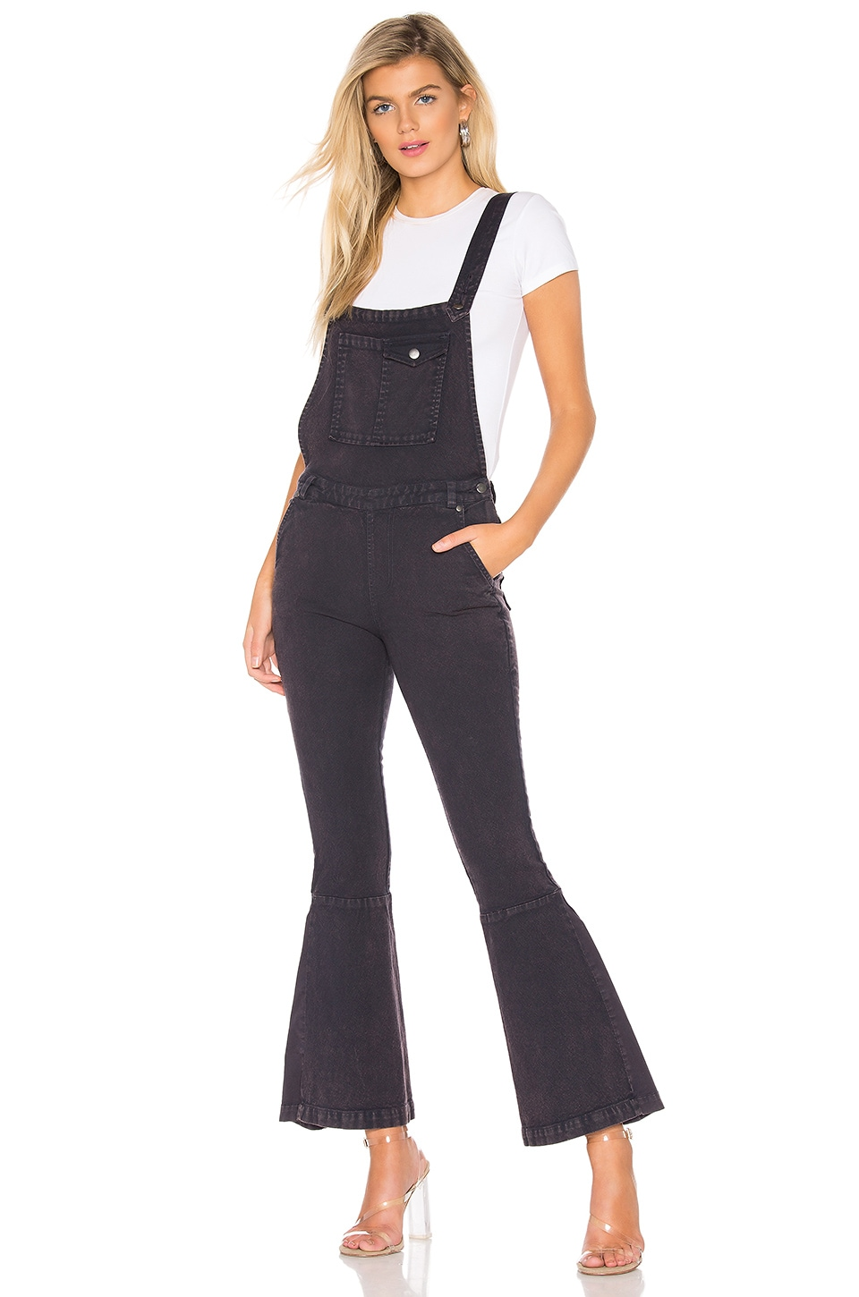 Chaser Flared Crossback Overalls in Blueberry