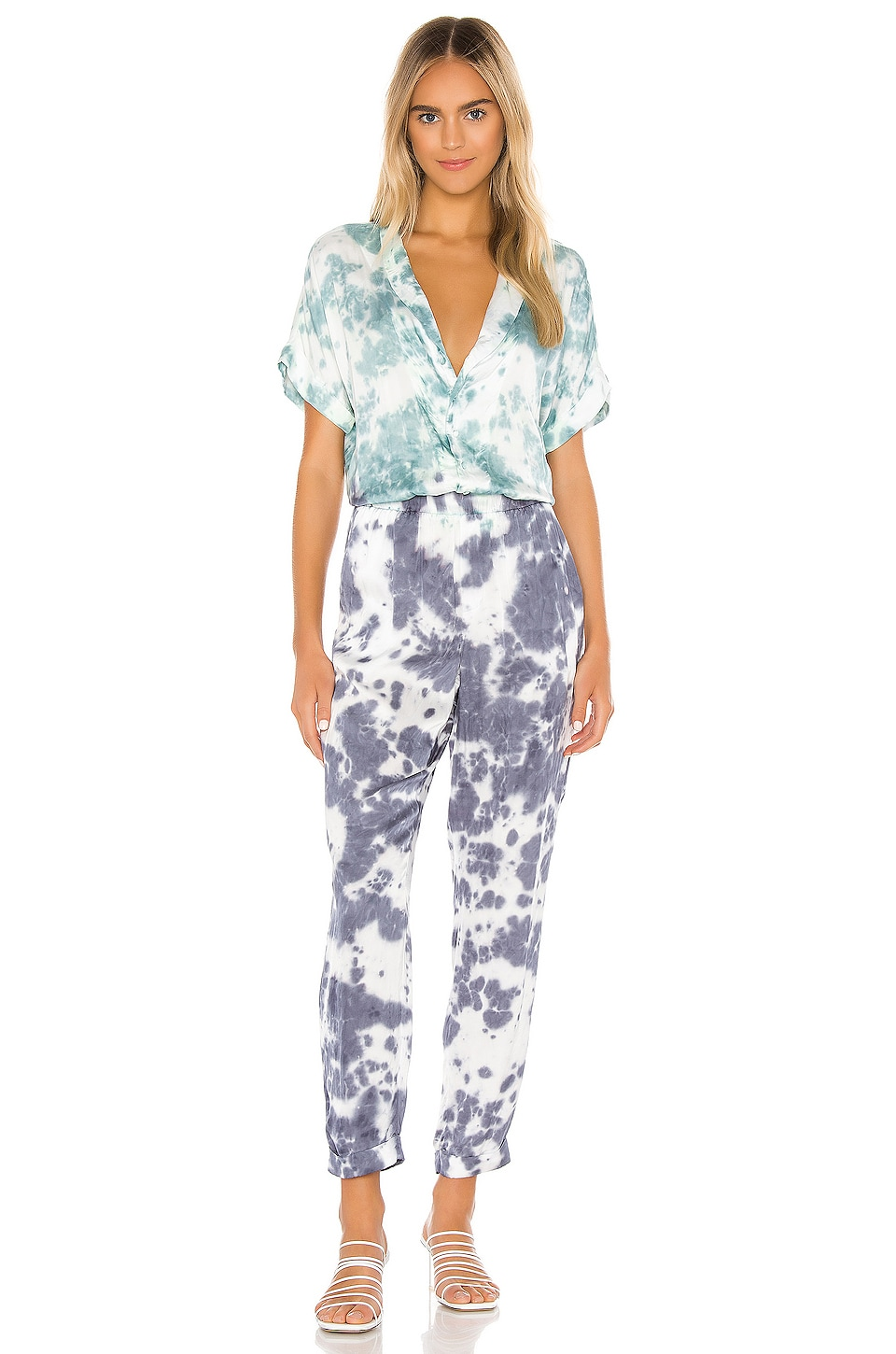 Chaser Short Sleeve Rolled Cuff Jumpsuit in Tie Dye