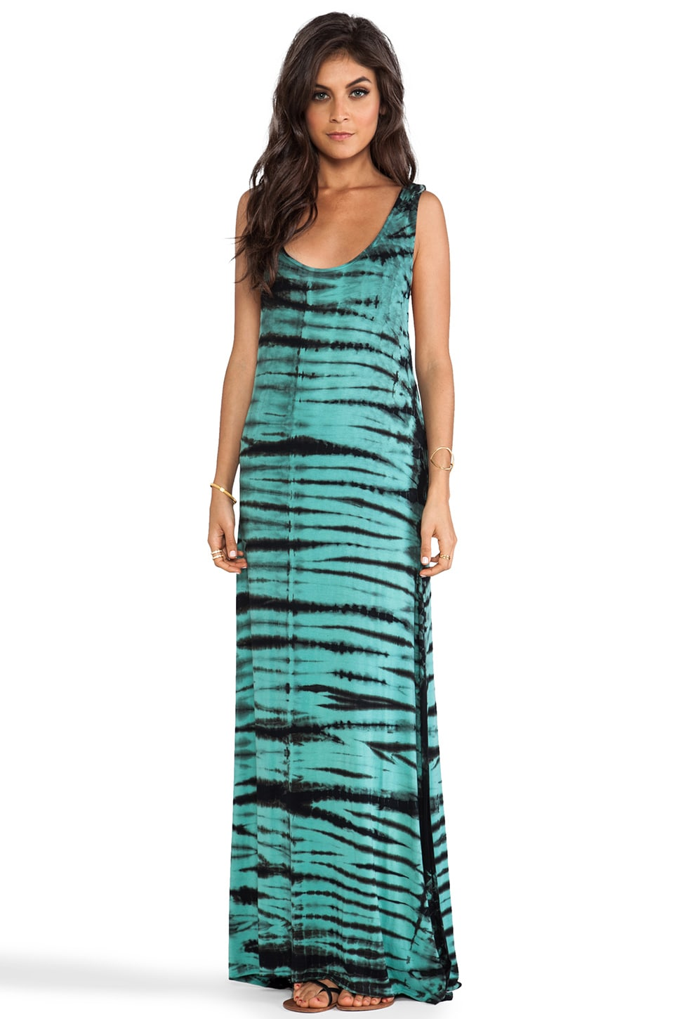 Chaser Deep Armhole Maxi Dress in Underwater Tie Dye