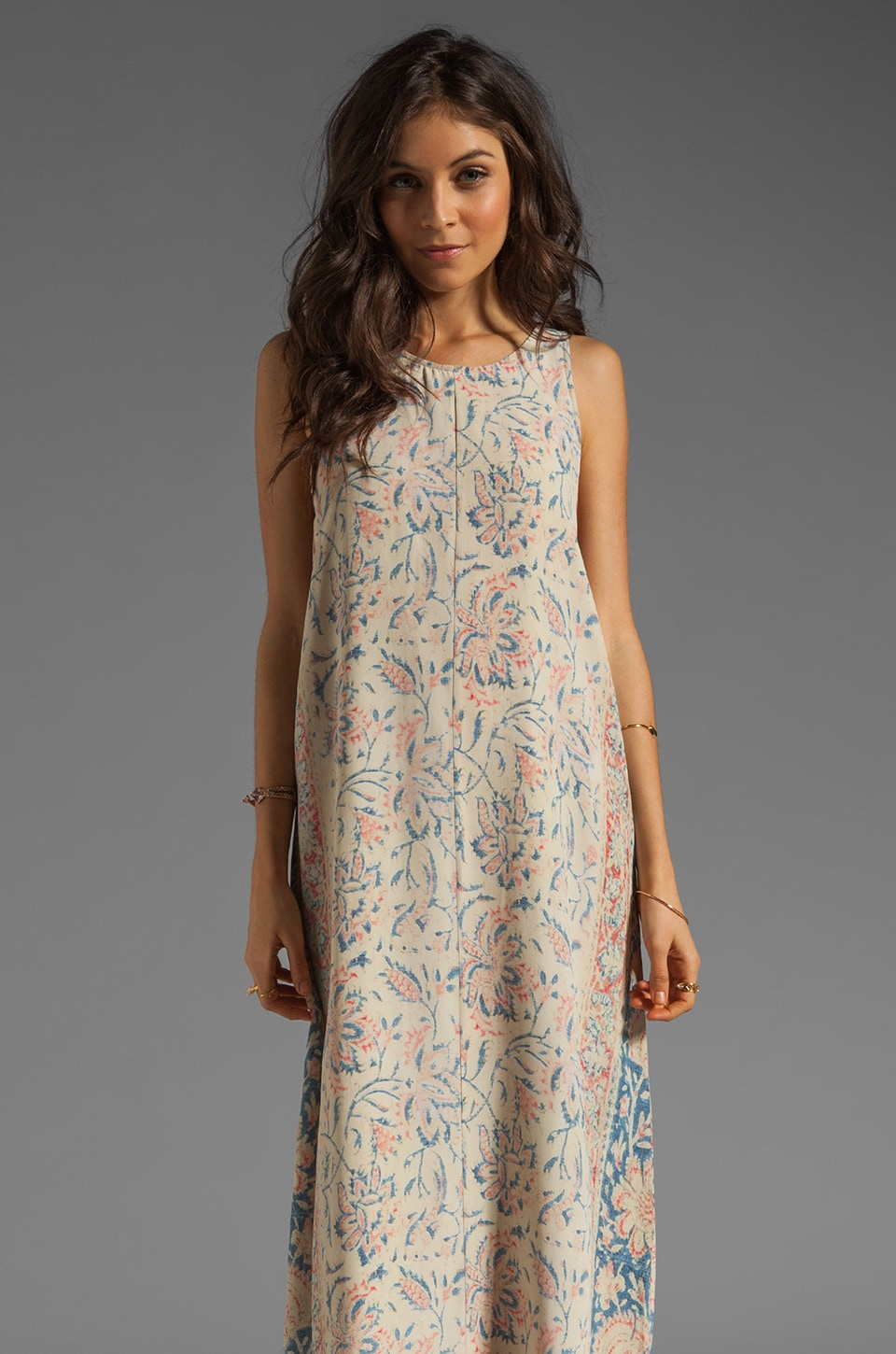 Chaser Vintage Tapestry Silk Tank Maxi Dress with Lace-Up Back Detailing in Sand Washed