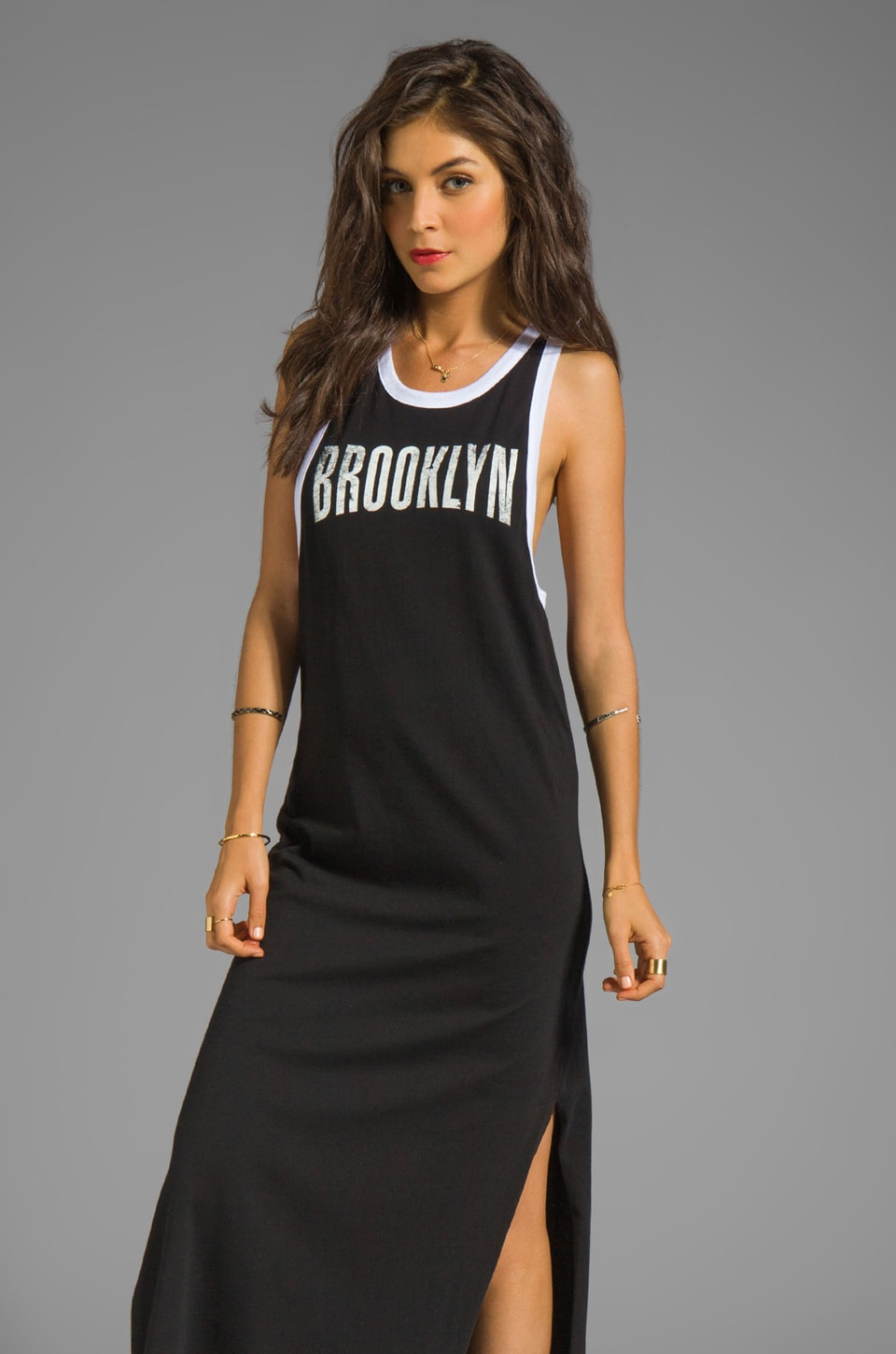 Chaser No Sleep Till Brooklyn Graphic Cotton Ringer Maxi Tank Dress in White/ Black