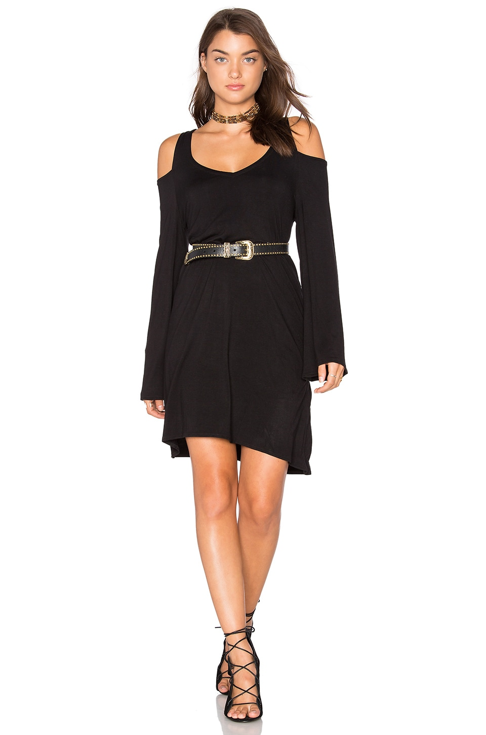 Double V Cold Shoulder Mini Dress by Chaser