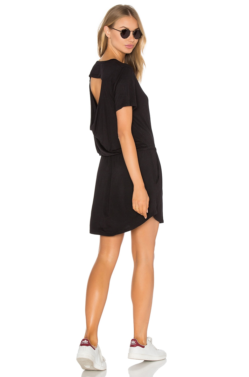Chaser Drape Back Pocket Mini Dress in Black