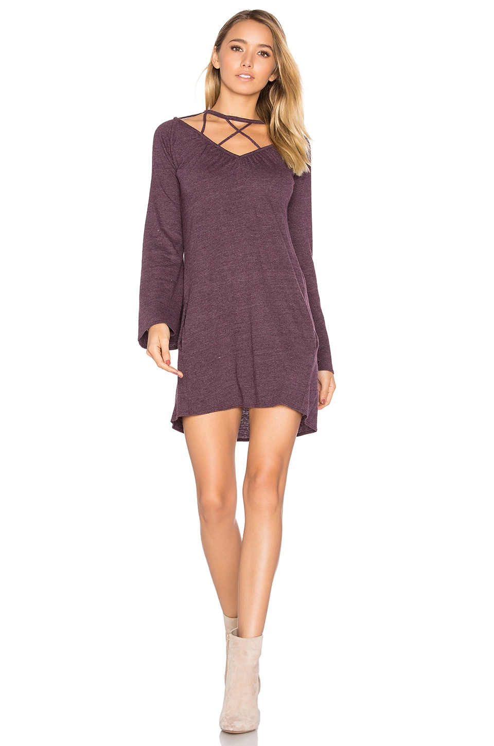 Chaser Bell Sleeve Strappy Mini Dress in Sangria