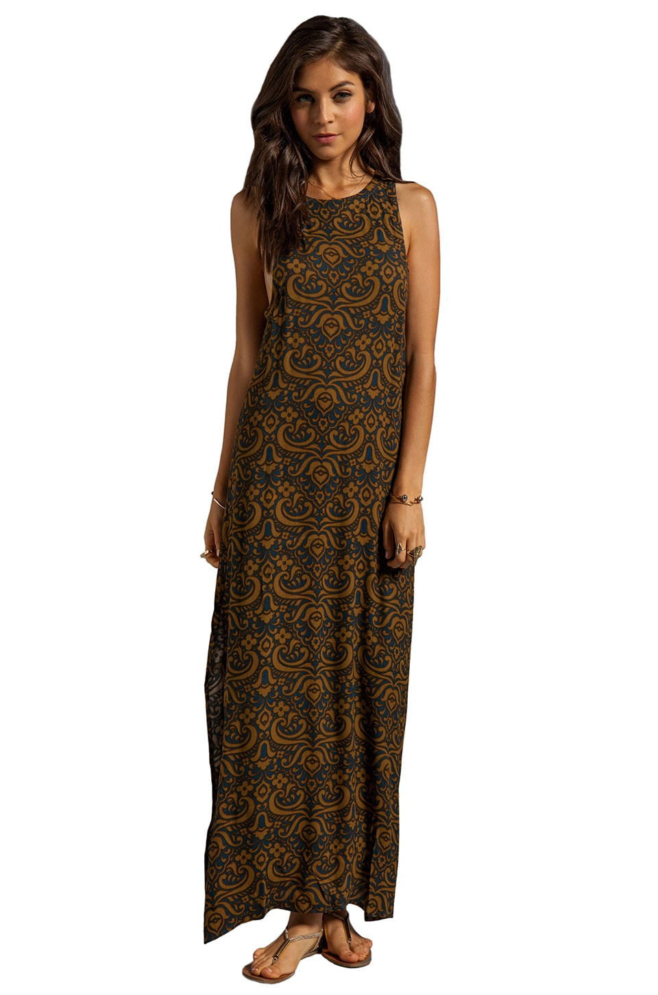 Chaser Brocade Maxi Dress in Brocade Georgette