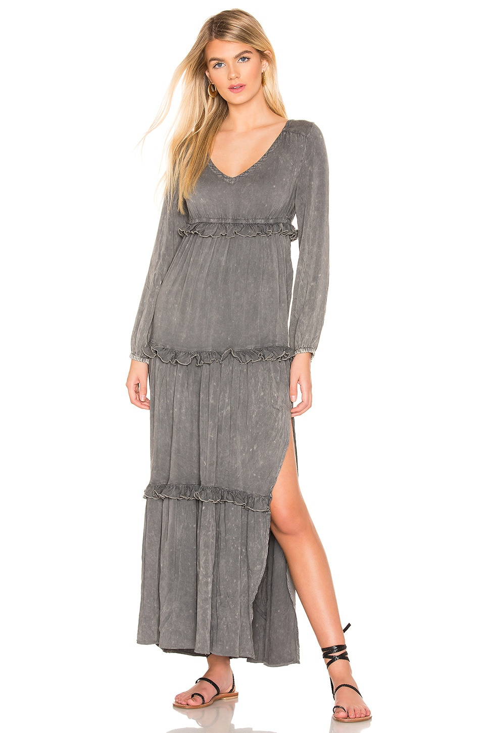 Long Sleeve V Neck Ruffle Tier Maxi