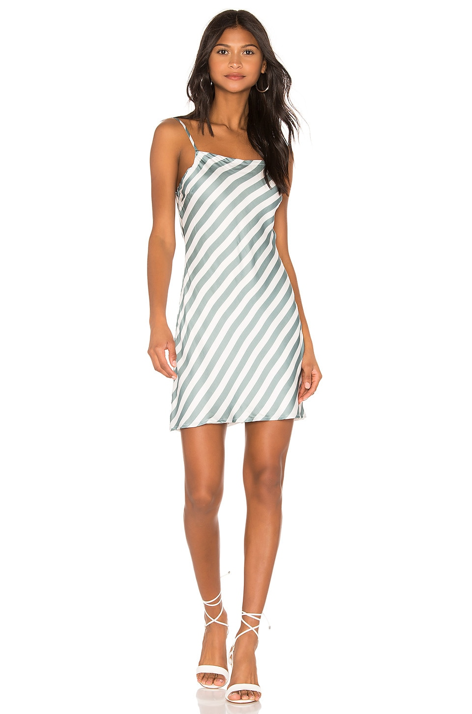 Chaser Deep Scoop Back Midi Slip Dress in Stripe