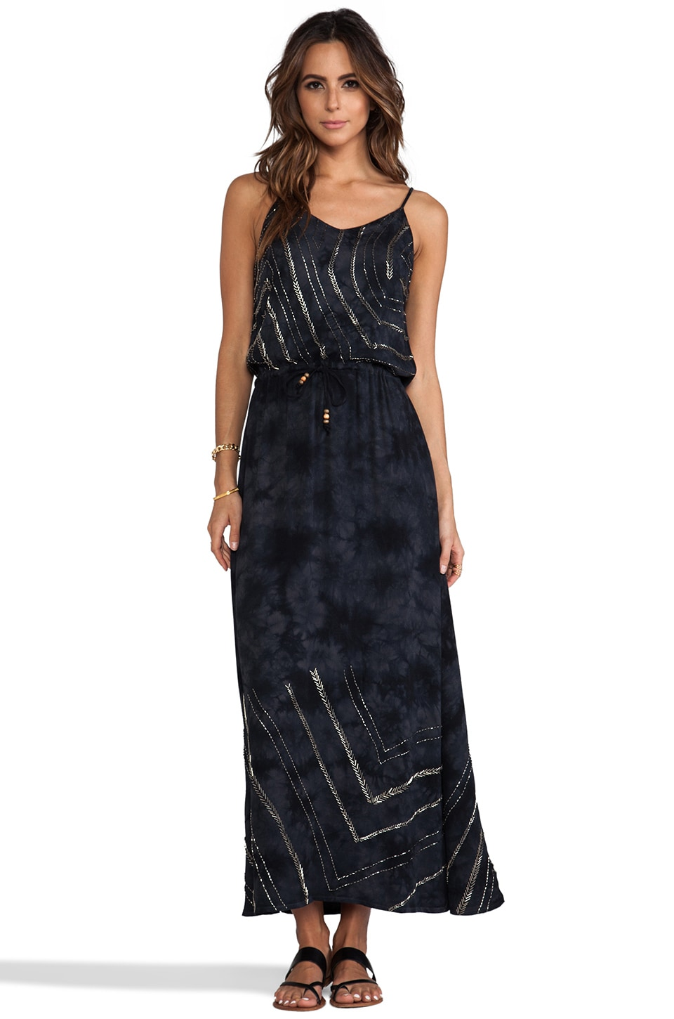 Chaser Beaded Tie Dye Maxi in Blue