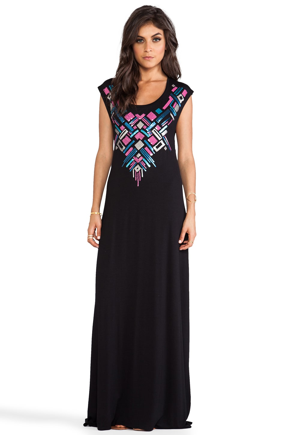 Chaser Inca Embellished Maxi Dress in Black