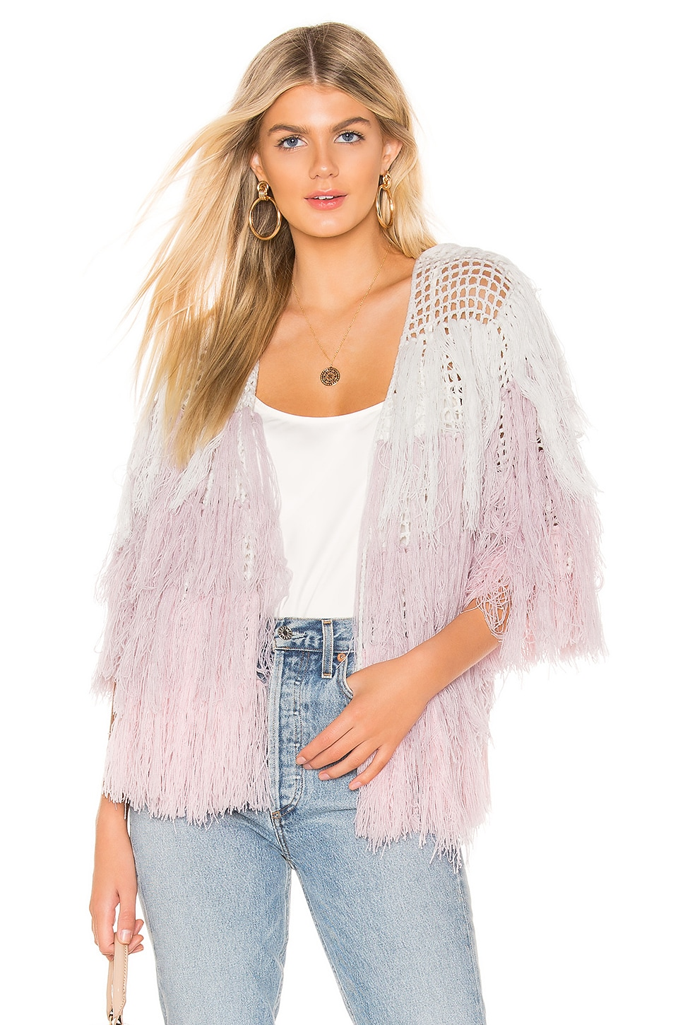 Chaser Quarter Sleeve Shaggy Cardigan in Pink Ombre