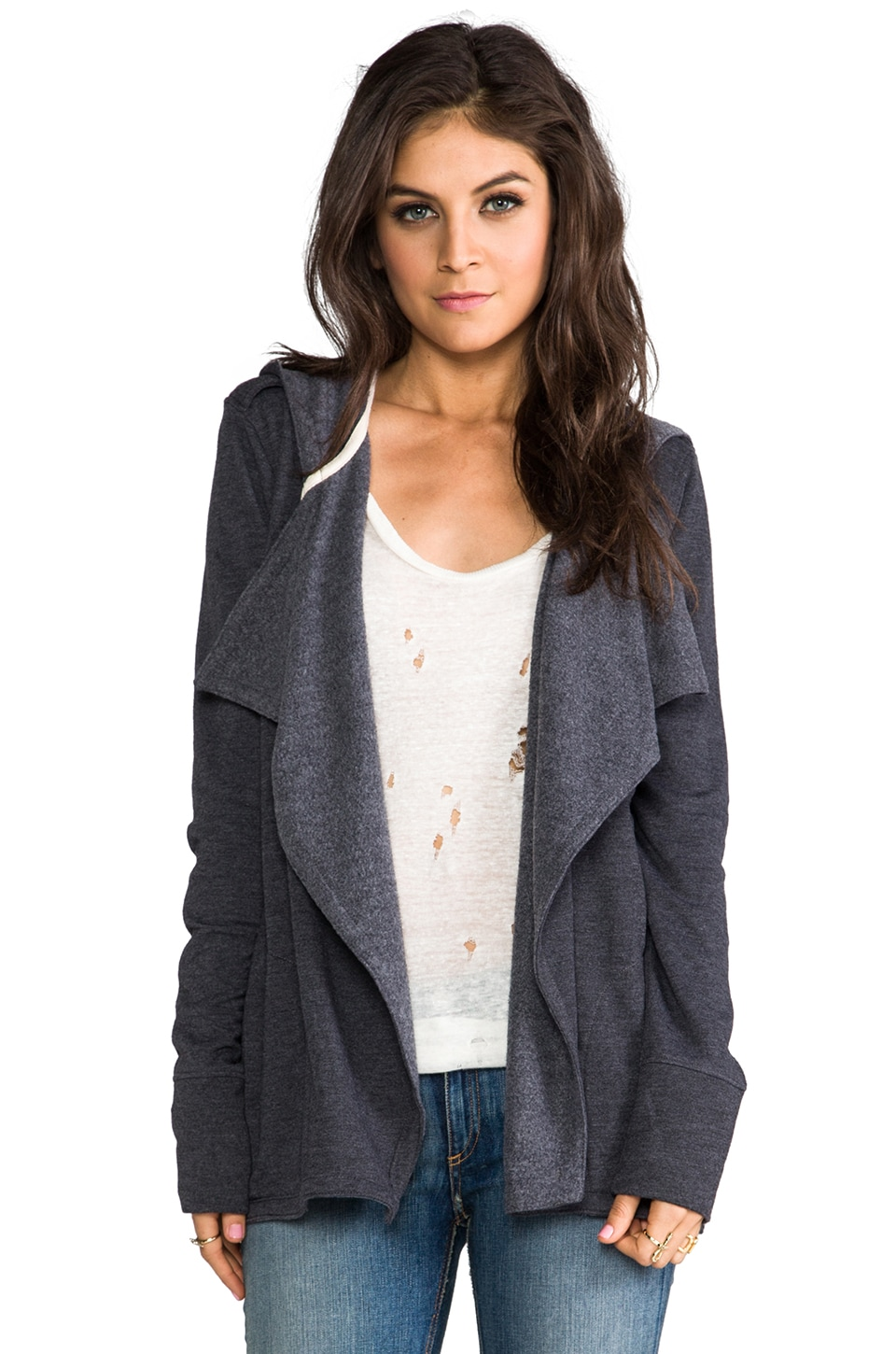 Chaser Hooded Cardigan in Black