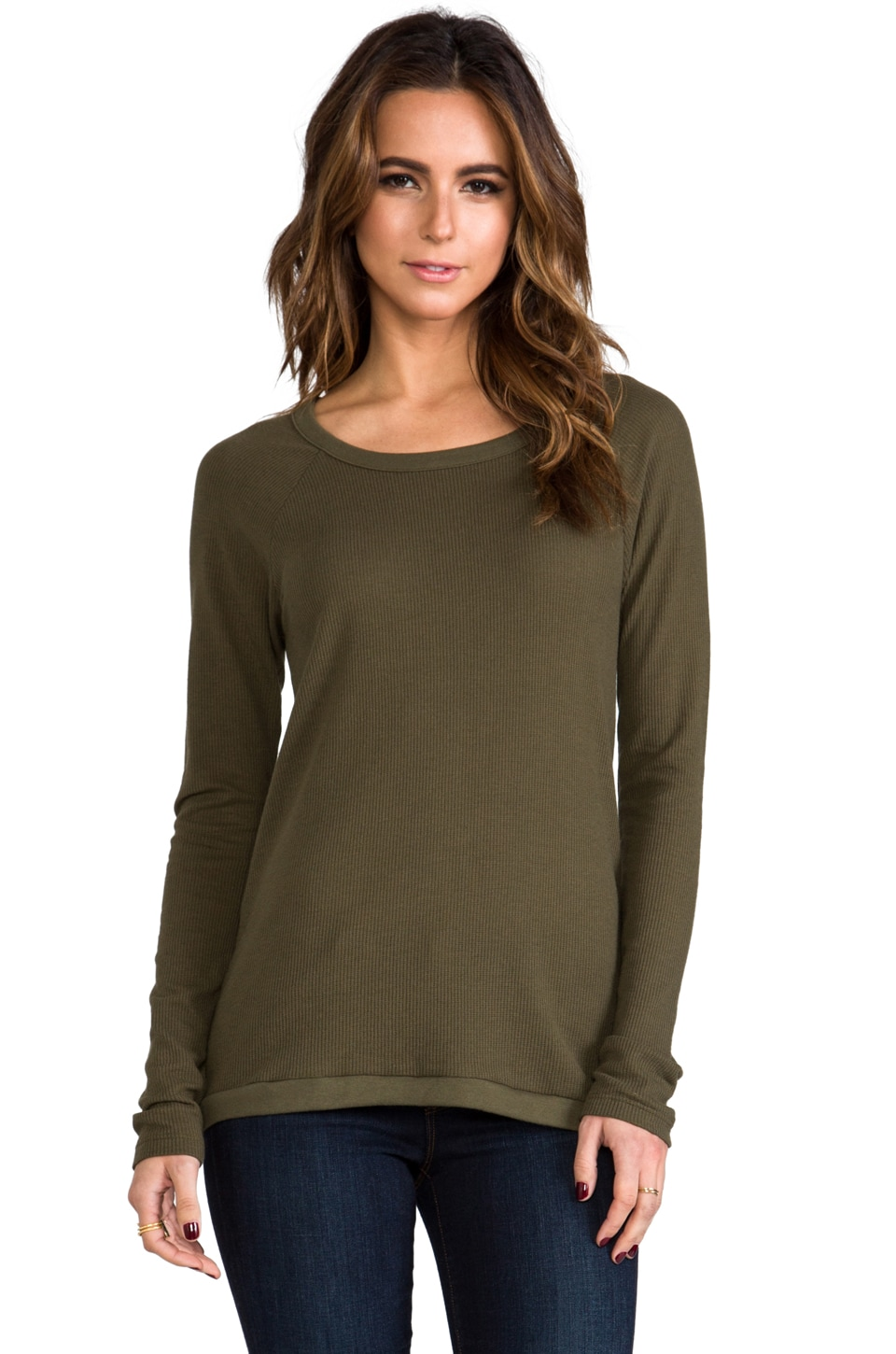Chaser Vintage Thermal Open Back Pullover in Army