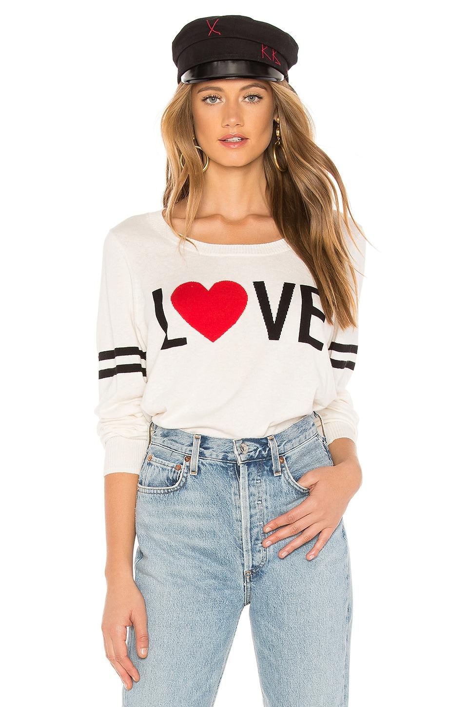 Chaser Love Crew Neck Pullover Sweater in Bone