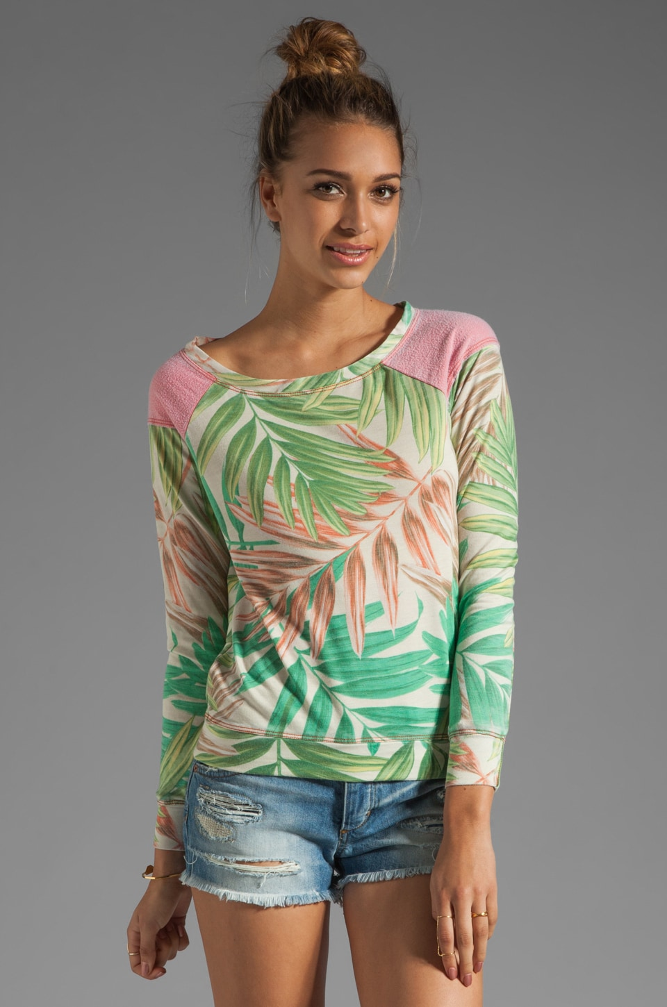 Chaser Fleece Printed Raglan in Tropical
