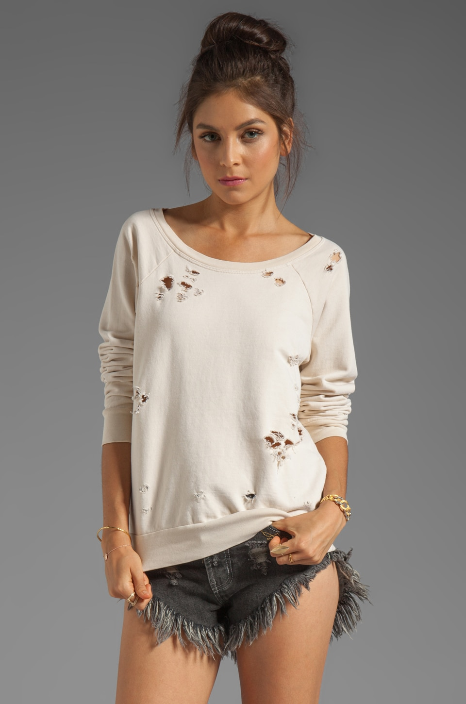 Chaser Destroyed Sweatshirt in Muslin