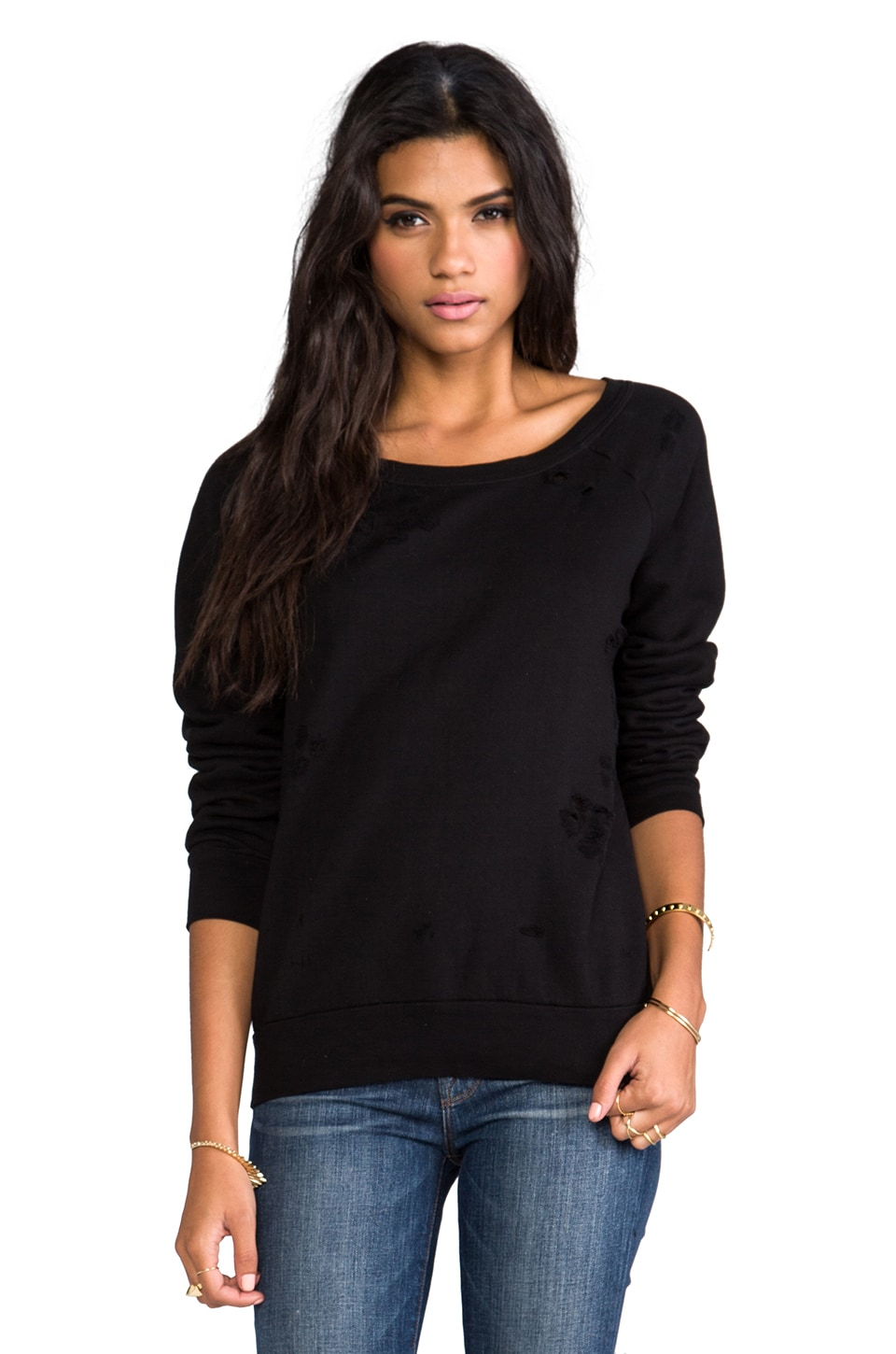 Chaser Destroyed Sweatshirt in Black