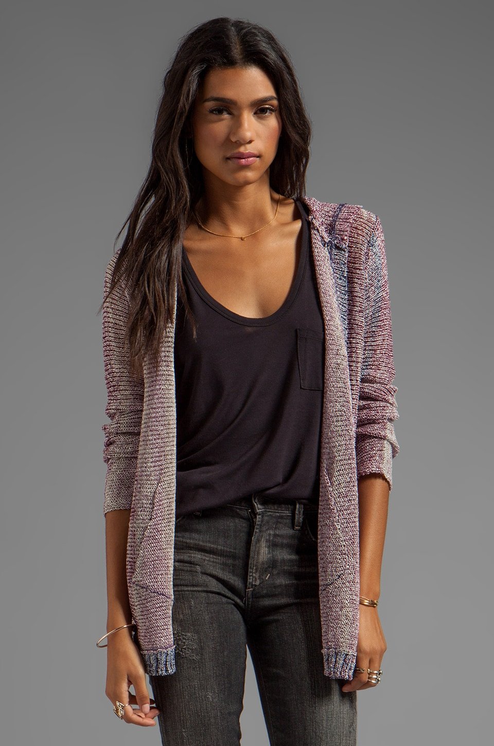 Chaser Hooded Open Cardigan in Fermo Yarn