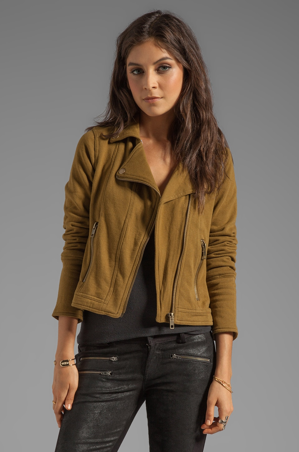 Chaser Fleece Moto Jacket in Caper