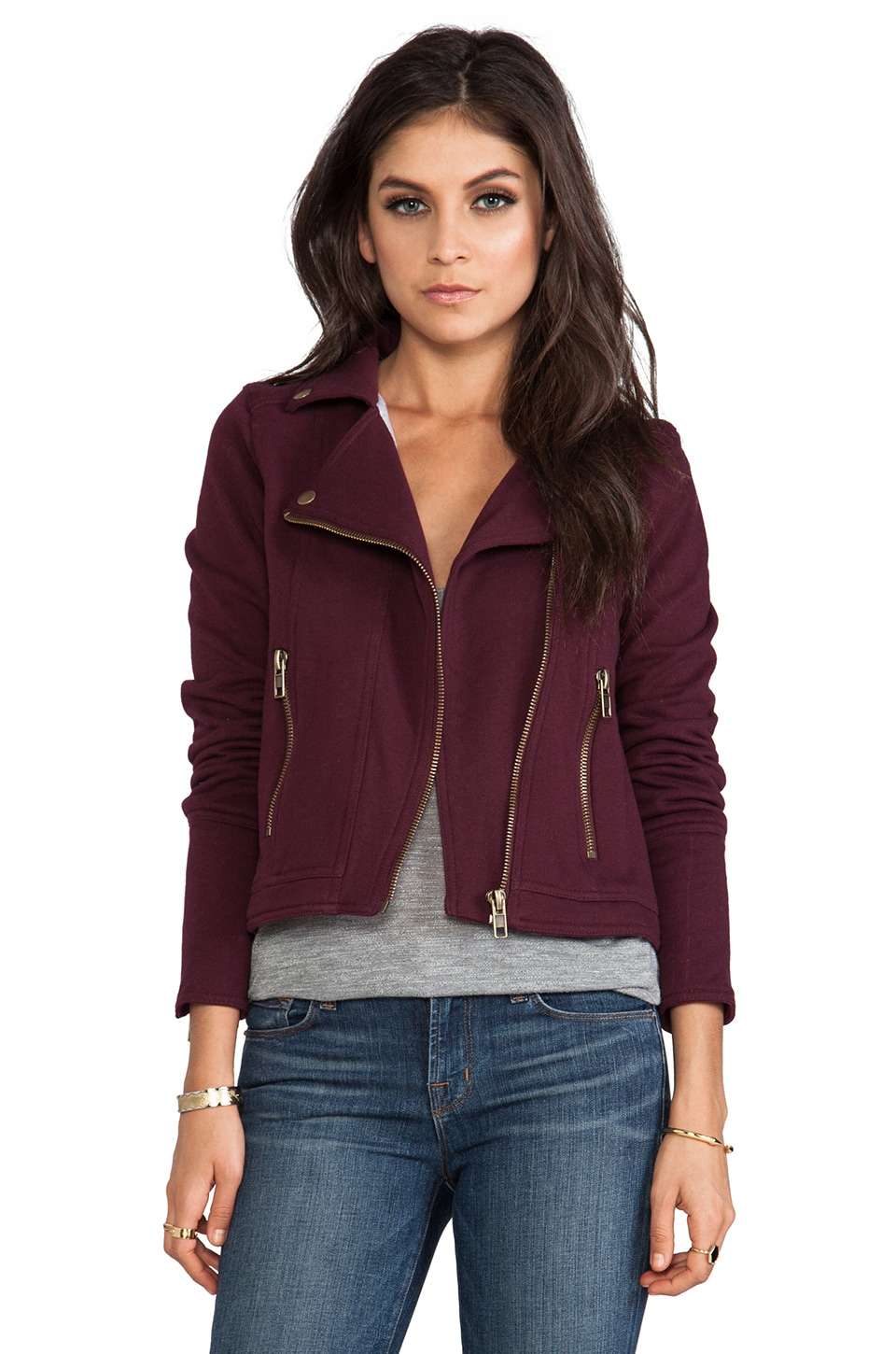 Chaser Fleece Moto Jacket in Oxblood