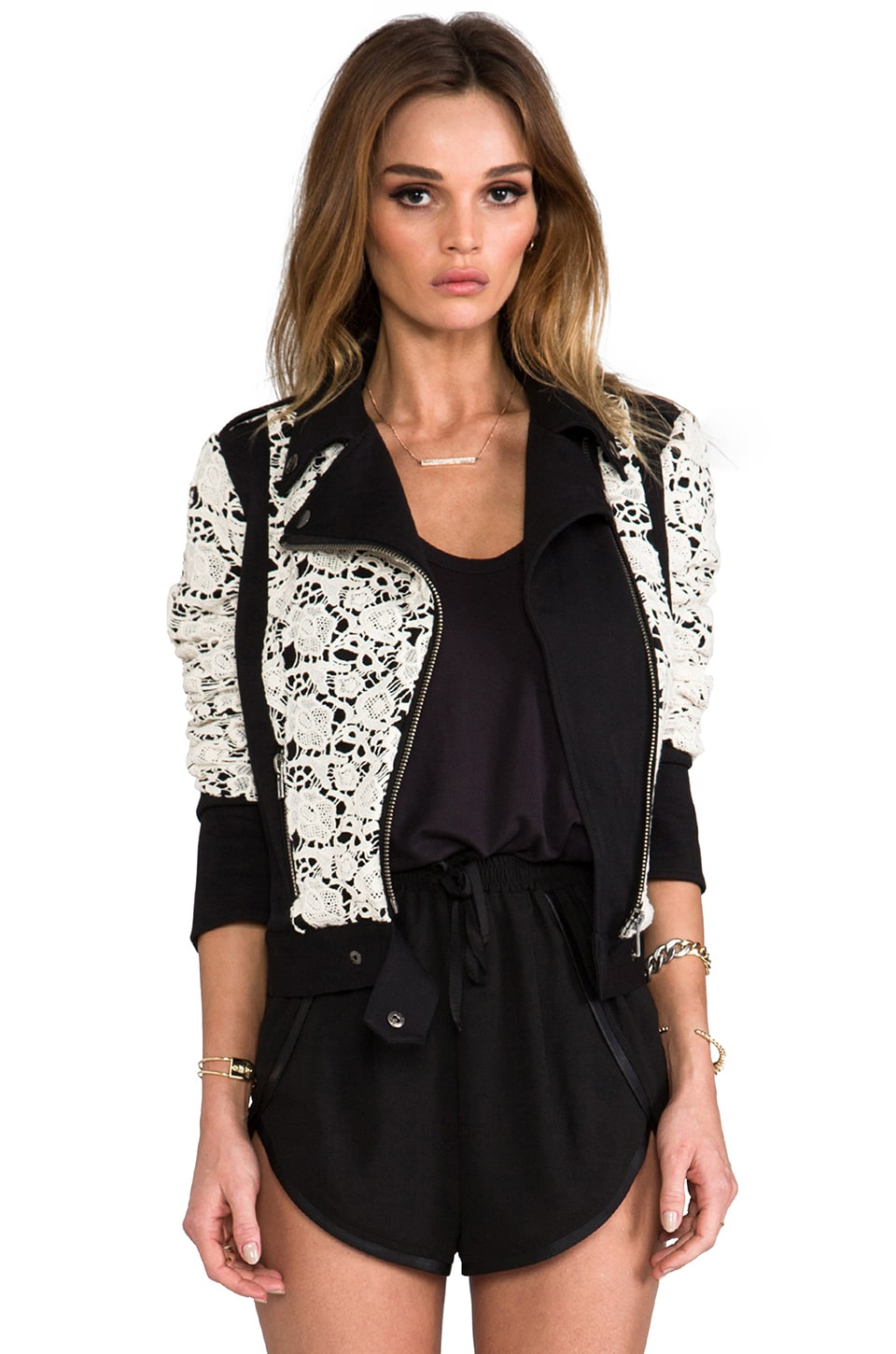 Chaser x REVOLVE Lace Moto Jacket in Black/White