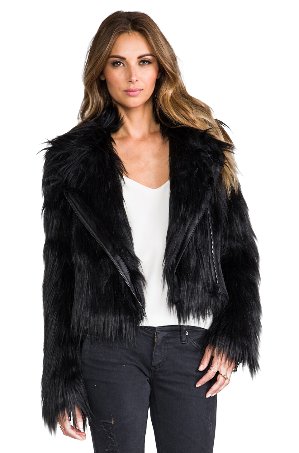 Chaser Faux Fur Moto Jacket in Black